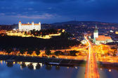 Bratislava at twilght from new bridge — Stock Photo
