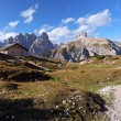 Dolomites mountain panorama in Italy at sunset - Tre Cime di Lav — Stock Photo #18667335