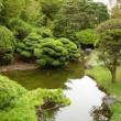 Stock Photo: Japanese garden with house