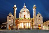 在晚上-圣查尔斯维也纳 — 图库照片