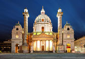 Vienna at night - St. Charles — Stock Photo
