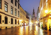Bratislava street at night - Michael Tower, Slovakia. — Stock Photo