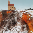 Nice Catholic Chapel in eastern Europe at winter landscape - vil — Stock Photo #19464459