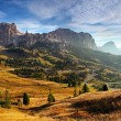 Italy Dolomites moutnain at sunrise - Road to passo gardena — Stock Photo