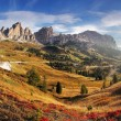 Mountain panorama in Italy Alps dolomites - Passo Gardena — Stock Photo
