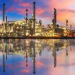 Oil gas refinery with reflection, factory, petrochemical plant — Stock Photo #19466611