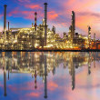 Stock Photo: Oil gas refinery with reflection, factory, petrochemical plant