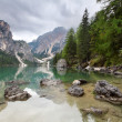 Lake - Lago di Braies in Dolomiti Mountains - Italy Europe - Stock Photo