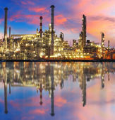Oil gas refinery with reflection, factory, petrochemical plant — Stock Photo