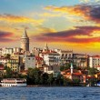 Stock Photo: Istanbul at sunset - Galata district, Turkey