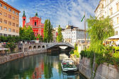 Ljubljana - Slovenia (Church and river Ljubljanica) — Stock Photo