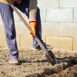 Stock Photo: Digging spring soil with shovel.