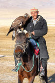 The senior Mongolian horseman in traditional clothing — Stock Photo