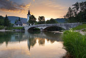 Ribicev Laz, touristic village on lake Bohinj — Stock Photo