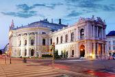 Stan teatru burgtheater w wiedniu, austria w nocy — Zdjęcie stockowe