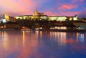 Prague Castle from river at sunrise - Czech republic — Stock Photo
