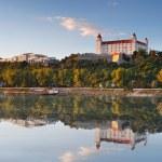 Bratislava castle with reflection in river Danube — Stock Photo #20125507