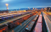 Cargo train trasportation - Freight railway — Stock Photo