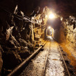 Stock Photo: Mine with railroad track - underground mining