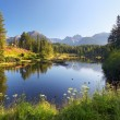 Stock Photo: Nature mountain scene with beautiful lake in SlovakiTatr- St