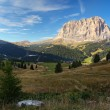 Stock Photo: Gardenvalley and Sassolungo (Langkofel) in Dolomites