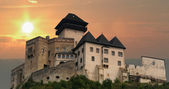 Trencin Castle at sunset, Slovakia — Stock Photo
