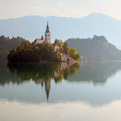 A church on the island in lake Bled in Slovenia — Stock Photo