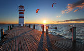 Lighthouse at Lake Neusiedl at sunset — Stock Photo
