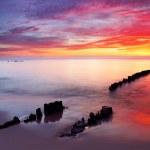 Baltic sea at beautiful sunrise in Poland beach. — Stock Photo #21740185