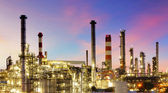 Oil refinery at twilight - factory — Stock Photo