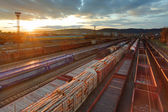 Freight Station with trains at sunset — Stock Photo