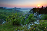 Green Rocky moutain at sunset wih path and sun. — Stock Photo