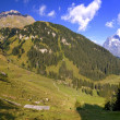 This is a hiking trail near Grindelwald in the Canton of Bern in — Stock Photo