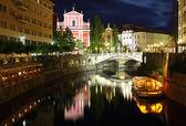 Ljubljana at night, with the Triple Bridge Slovenia — Stock Photo
