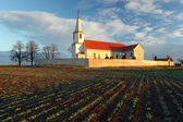 Nice Catholic Church in eastern Europe - village Pac — Stock Photo