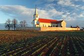 Nice Catholic Church in eastern Europe - village Pac — Stock Photo