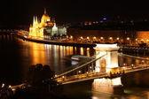 Hungarian parliament and chain bridge. — Stock Photo