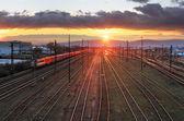 Railroad with train — Stock Photo