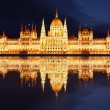 Budapest - Hungarian parliament  at night - Hungary - Stock Photo
