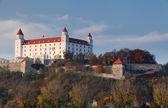 Ponte e il castello di bratislava — Foto Stock