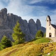 Nature landscape with nice church in a mountain pass in Italy Al - Stock Photo