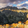 Mountain sunset panorama at autumn in Slovakia - High Tatras - Stock Photo