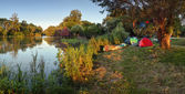 Camp near river small Danube — Stock Photo