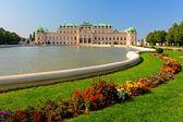 áustria viena - palácio de belvedere com flores — Foto Stock