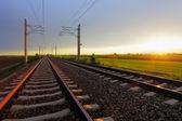Railway at dusk — Stock Photo