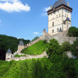 The exterior of czech castle named karlstejn — Foto de Stock