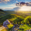 Stock Photo: Green Rocky moutain at sunset - Slovakia