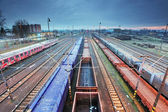Freight Station with trains — Stock Photo