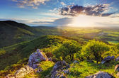 Green Rocky moutain at sunset - Slovakia — Stock Photo