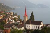 švýcarsko jezero v kantonu luzern. vesnice - weggis — Stock fotografie